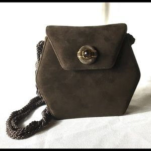 NWT Judith Leiber Suede Evening Bag Minaudiere